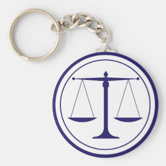 Blue Scales of Justice Silhouette Basic Round Button Key Ring