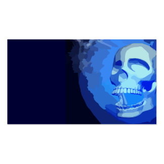 BLUE SCARY SKULL PIXEL GRAPHICS HEAVY METAL DANGER BUSINESS CARD TEMPLATE
