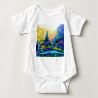 Blue Scenic Mountain Landscape Gifts Baby Bodysuit