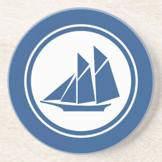Blue Schooner Sailboat Nautical coaster