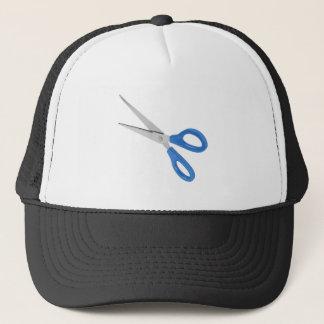 Blue scissors trucker hat