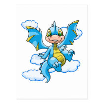 Blue Scorchio with his head in the clouds postcards