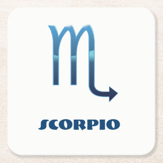 Blue Scorpio Zodiac Sig On White Square Paper Coaster