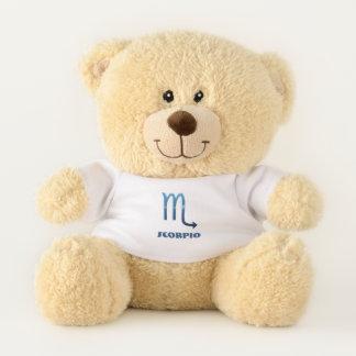 Blue Scorpio Zodiac Sig On White Teddy Bear
