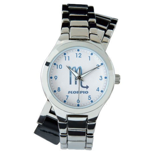Blue Scorpio Zodiac Sig On White Watch