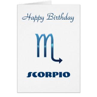 Blue Scorpio Zodiac Sign Birthday Card