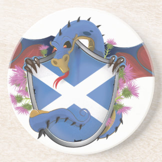 Blue Scottish Dragon  Saint Andrew's Cross Coaster