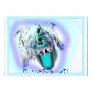 Blue screaming banshee costume party invitation