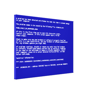 Blue Screen of Death Canvas Prints