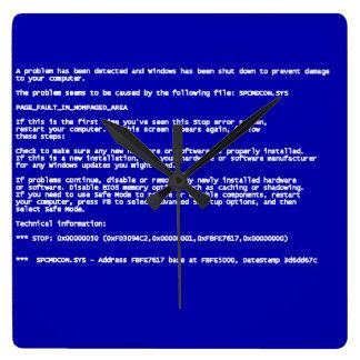 Blue Screen of Death Square Wallclocks