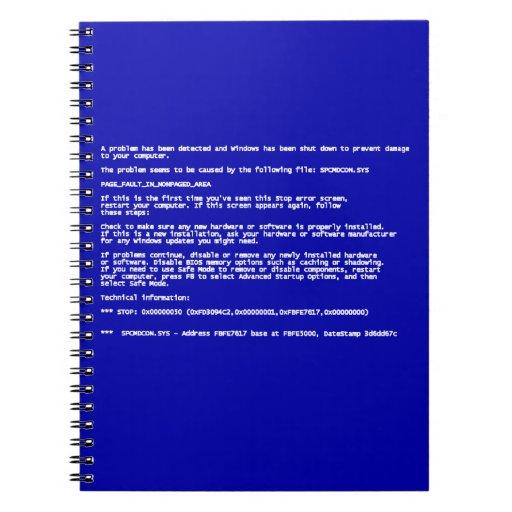 Blue Screen of Death Note Books