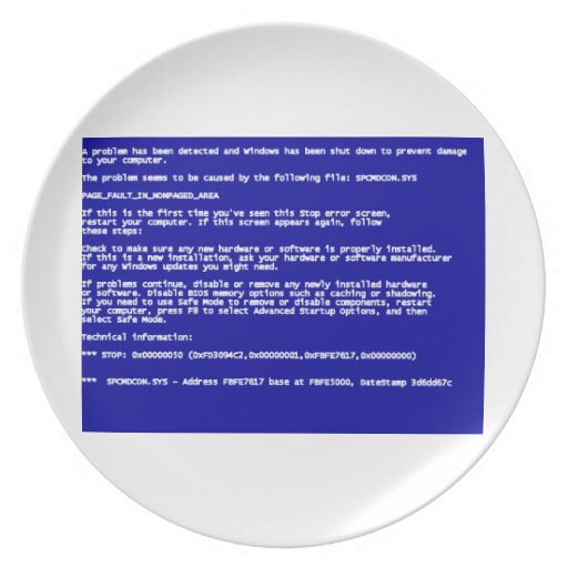 Blue Screen of Death Dinner Plate