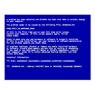 Blue Screen of Death Postcard