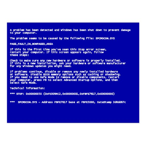 Blue Screen of Death Post Card