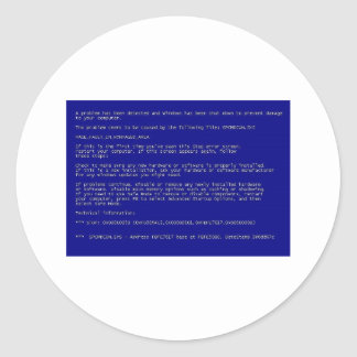 Blue Screen of Death Round Sticker