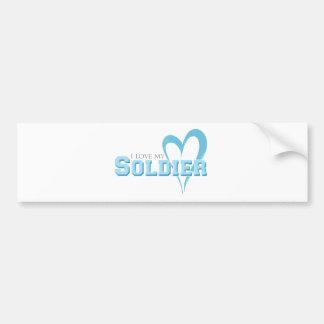 Blue Scribbled Heart - I Love My Soldier Bumper Sticker
