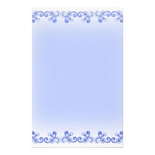 Blue Scroll Stationery