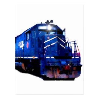 Blue SD-40 Locomotive Postcard