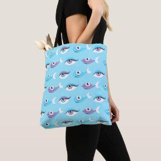 Blue Sea Eyes Fish Pattern Tote Bag