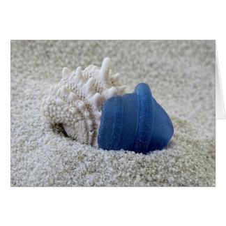 Blue Sea Glass and Seashell Card