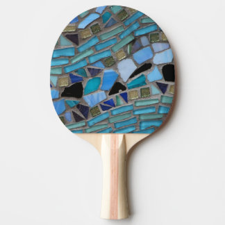 Blue Sea Glass Mosaic Ping Pong Paddle