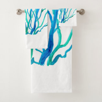 Blue Sea Grass Bath Towel Set