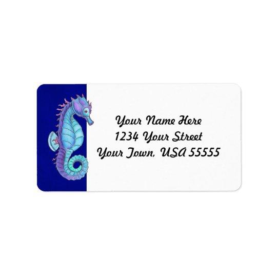 Blue Sea Horse Address Labels