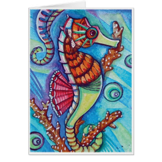 * Blue - sea horse * - Blank Card