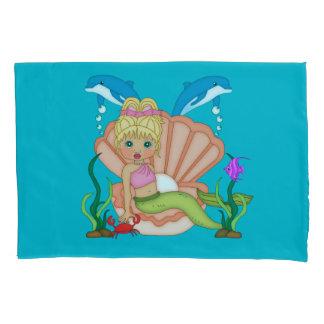 Blue Sea Mermaid and Dolphin Pillowcase