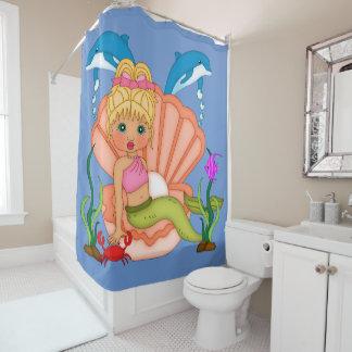 Blue Sea Mermaid Shower Curtain