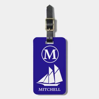 Blue Sea Monogrammed Luggage Tag