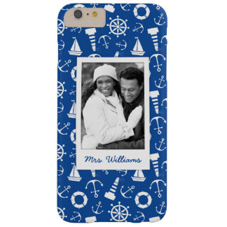 Blue Sea Pattern | Your Photo & Name Barely There iPhone 6 Plus Case