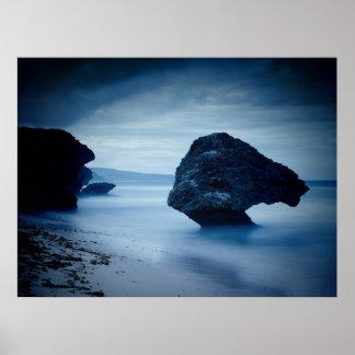 Blue Sea Rock Poster