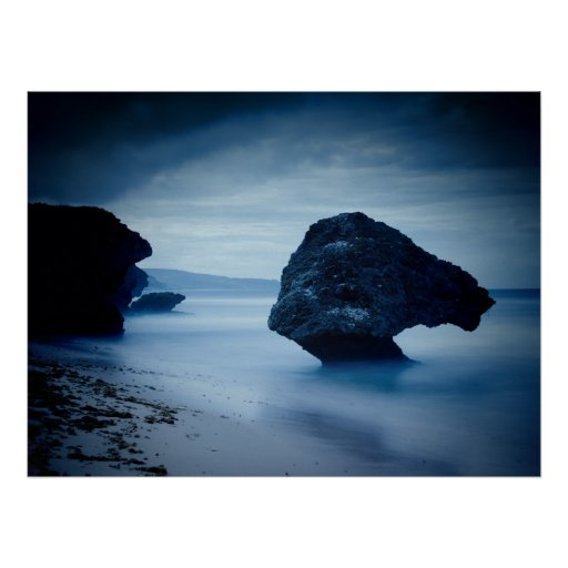 Blue Sea Rock Poster