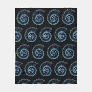Blue Sea Shell Black Fleece Blanket