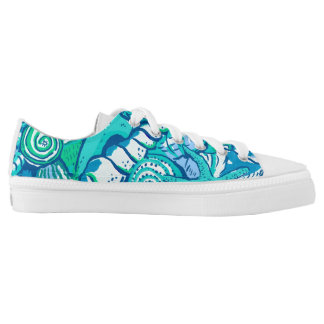 Blue Sea Shells Low Tops
