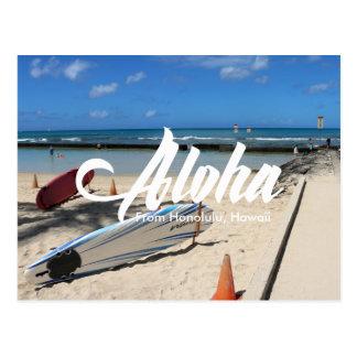blue sea Waikiki beach Honolulu hawaii postcard