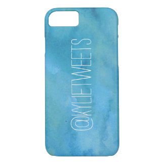 Blue Sea Watercolor Twitter Handle iPhone 7 Case