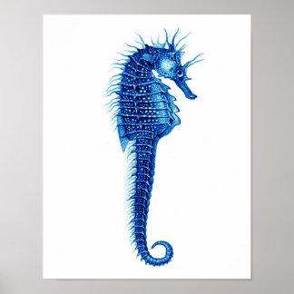Blue Seahorse Art Print no.1 Beach Wall Art Decor