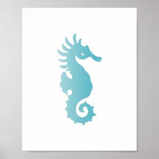 Blue Seahorse Beach Art Print