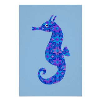 Blue seahorse blue poster