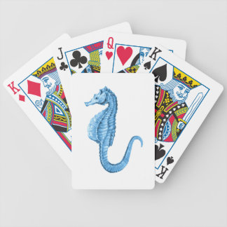 Blue seahorse coastal nautical ocean beach bicycle playing cards