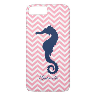 Blue Seahorse on Pink Chevrons Pattern iPhone 8 Plus/7 Plus Case