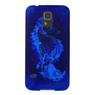 Blue Seahorse Painting Case For Galaxy S5