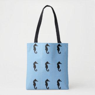 Blue seahorse tote