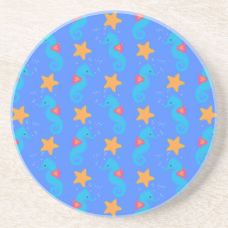 Blue Seahorses And Starfish Pattern Coaster