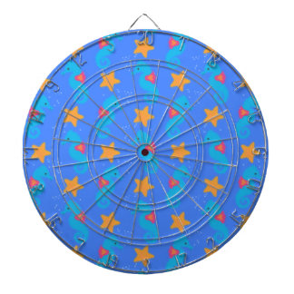 Blue Seahorses And Starfish Pattern Dartboard