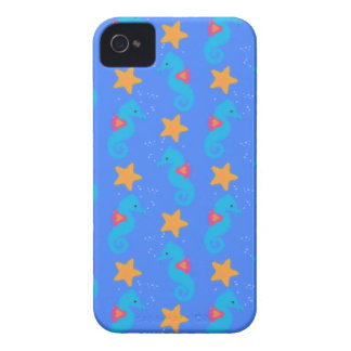 Blue Seahorses And Starfish Pattern iPhone 4 Cover