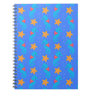 Blue Seahorses And Starfish Pattern Notebook