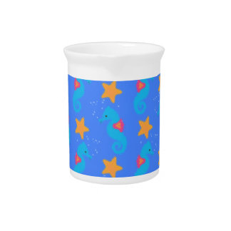 Blue Seahorses And Starfish Pattern Pitcher